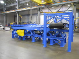 Hooded Conveyor w/ Stainless Steel Discharge and Crossbelt Magnetic Separator for Electronic Scrap